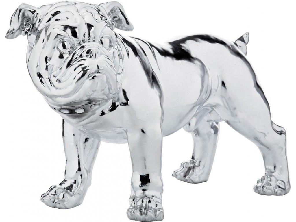 Dekorativní figurka Bulldogge Eco 42 cm, stříbrný
