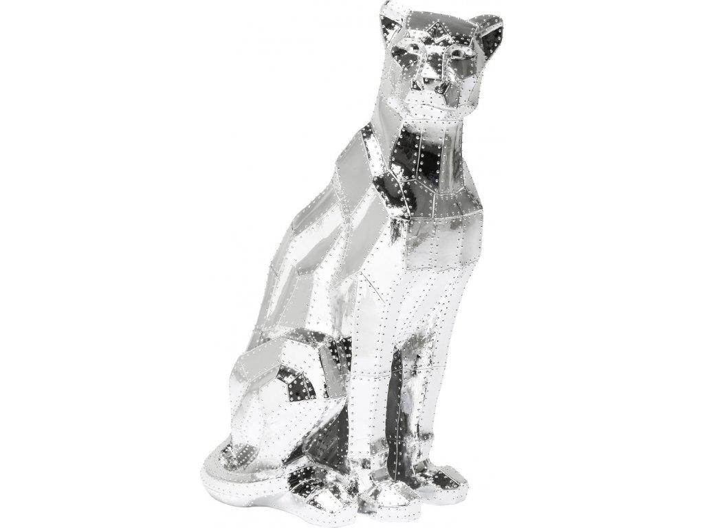Dekorativní figurka Sedící kočka, chromová