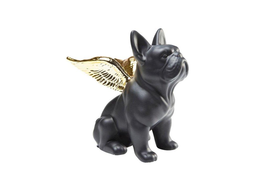 Dekorativní Figurka Sitting Angel Dog - zlatočerný