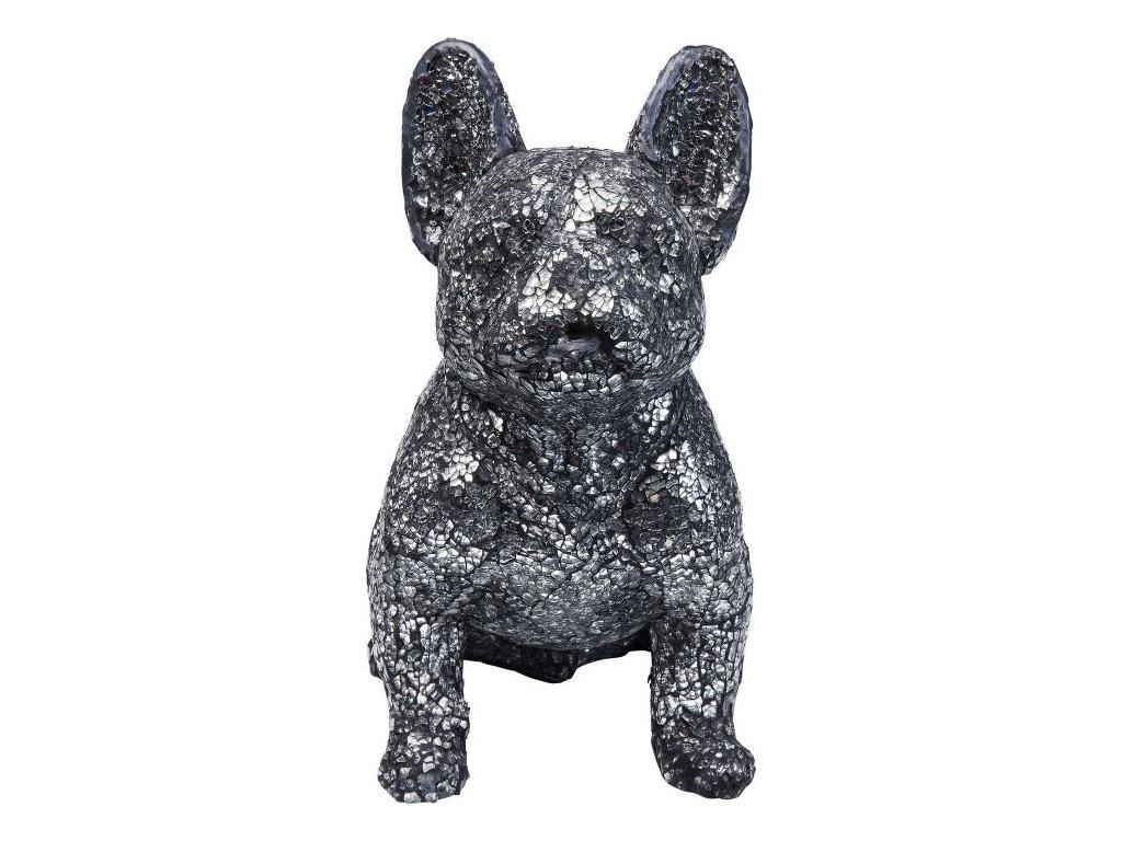 Dekorativní předmět Crystal Sitting Dog - malý