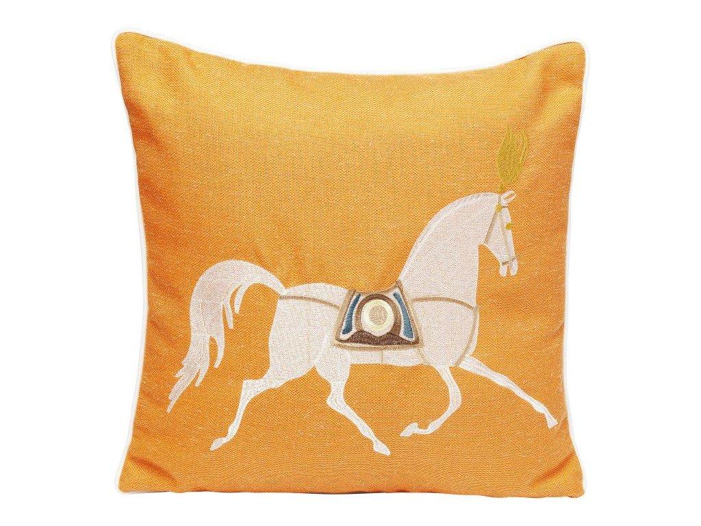 Dekorativní polštář Classy Horse 45×45 cm, oranžový