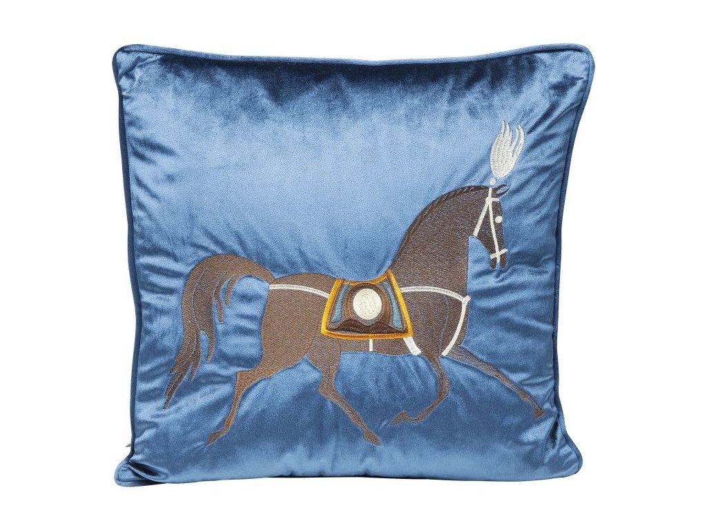 Dekorativní polštář Classy Horse 45×45 cm, modrý