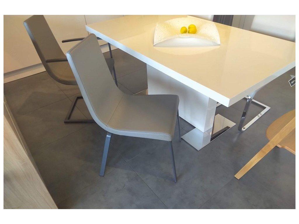 Židle Cruiser - kůže, podnož matná šedá
