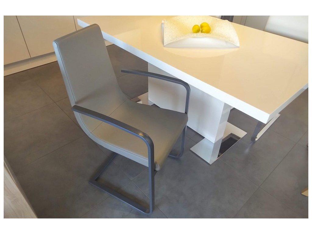 Židle Cruiser s područkami - kůže, podnož matná šedá