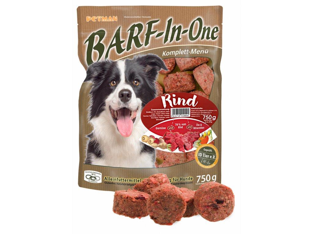 BARF in One Rind maso pro psy hovezi kompletni krmivo