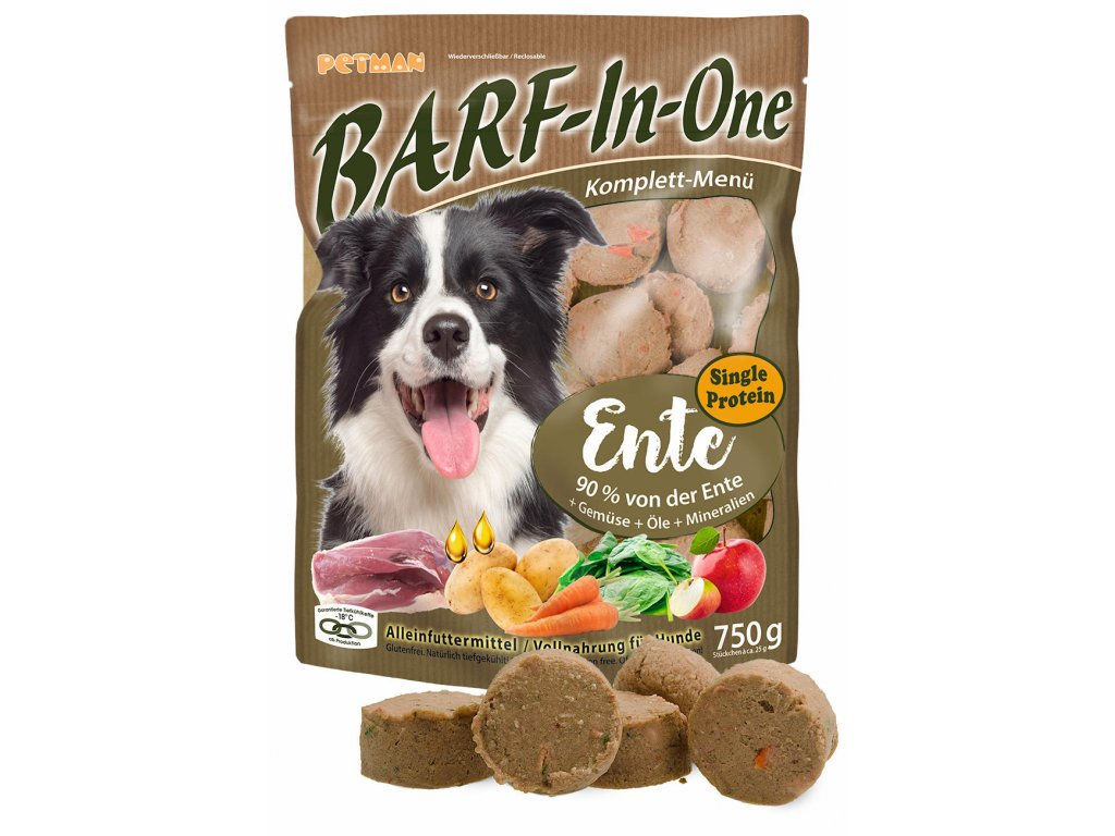 BARF in One Ente maso pro psy kachni kompletni krmivo