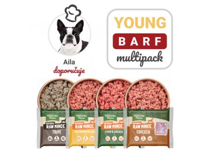 aila young barf multipack 12x400g barf krmivo maso pro psy