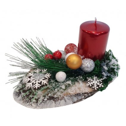 Vánoční dekorace na dřevěném plátku/č