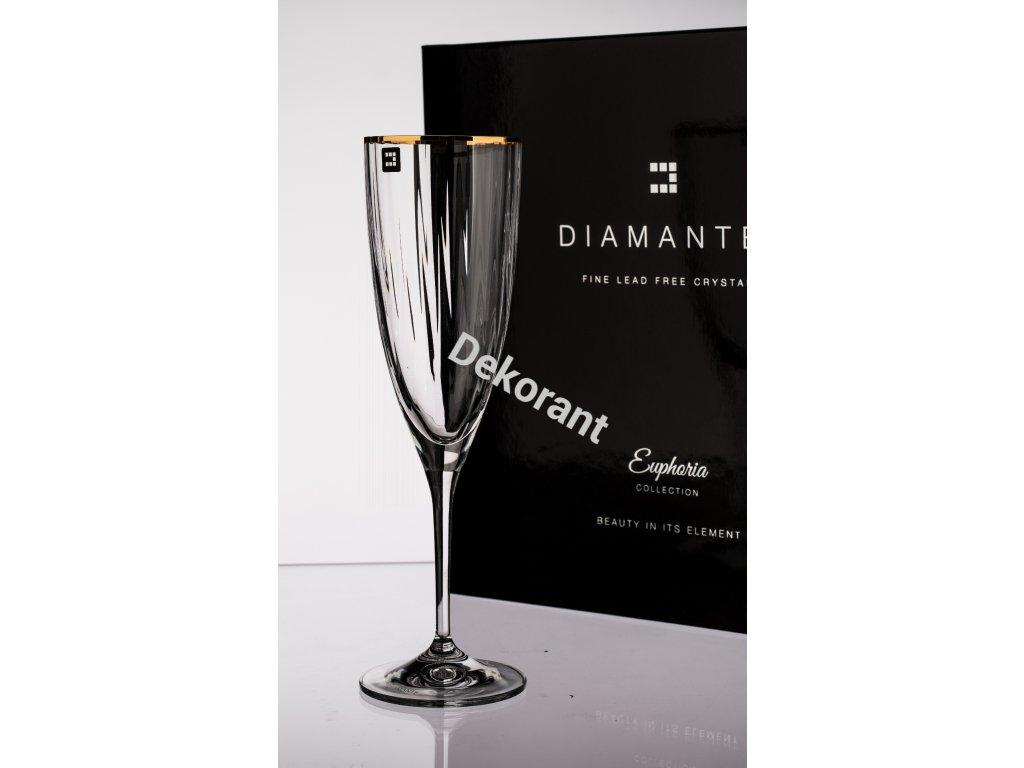 Diamante luxusní sklenice na šampaňské v dárkovém balení Mirage Gold 220ml 6KS