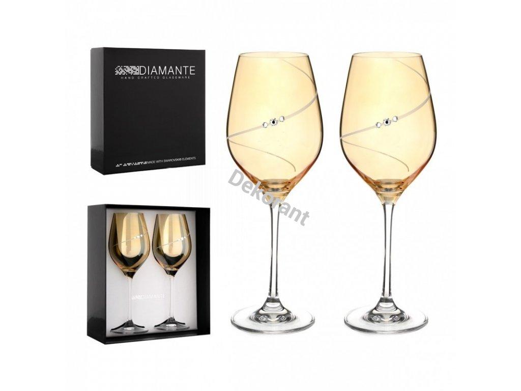 gold silhouette par na biele vino s gravirovanim