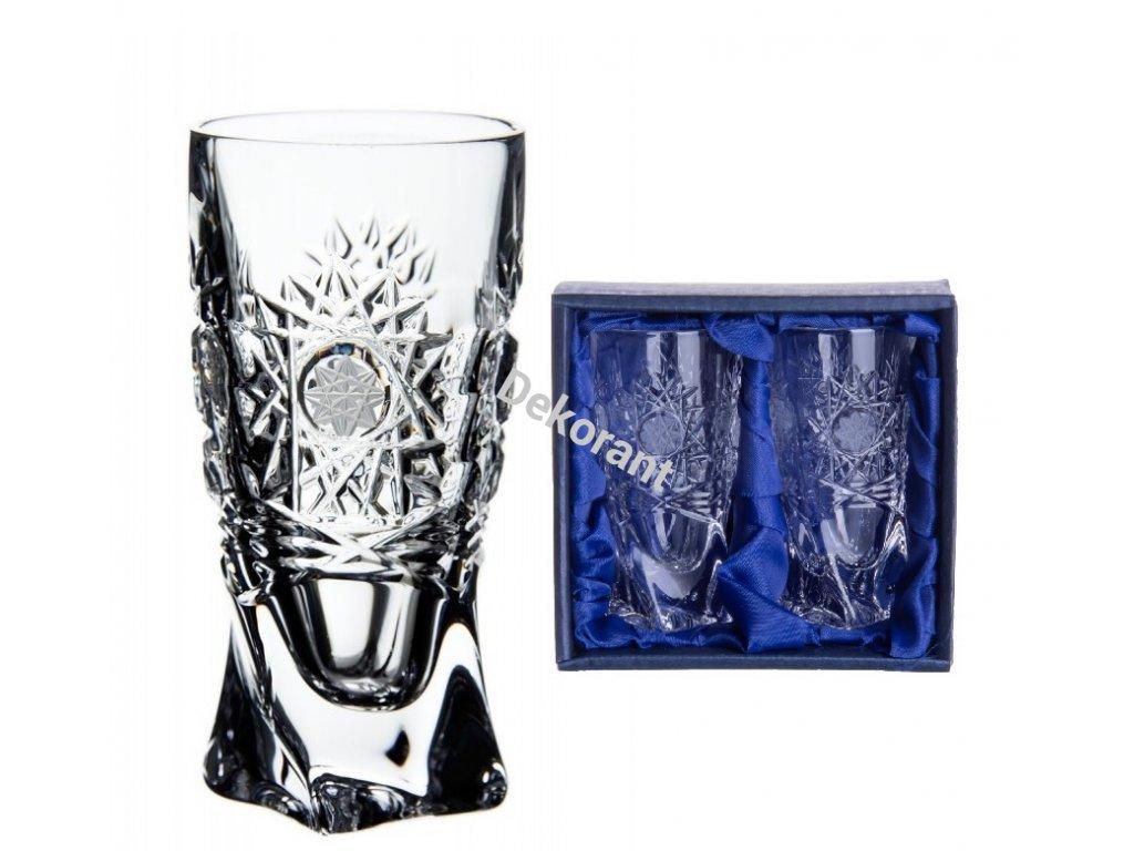 ručně broušený skleničky na likér quadro 500pk v dárkovém saténovém balení 2ks