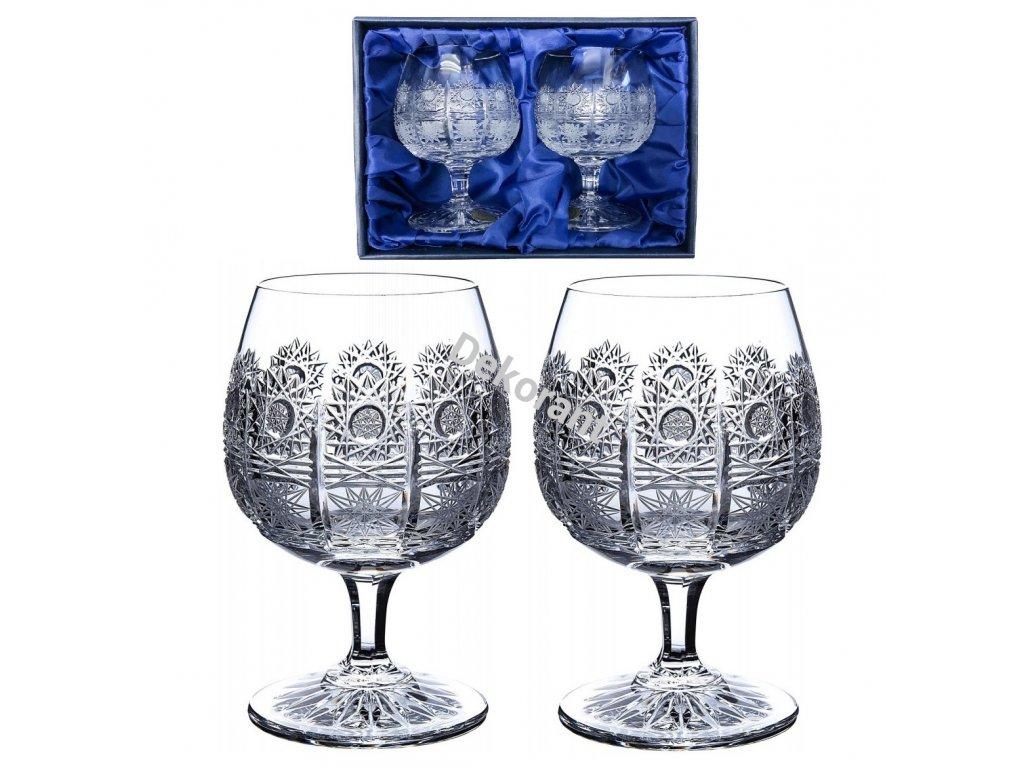 Ručně broušené sklenice na brandy a koňak v dárkovém saténovém balení 2ks