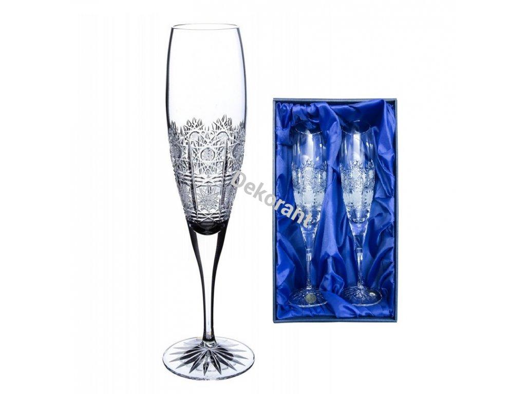 ručně broušené skleničky na šampaňské 500pk v dárkovém saténovém balení 2ks