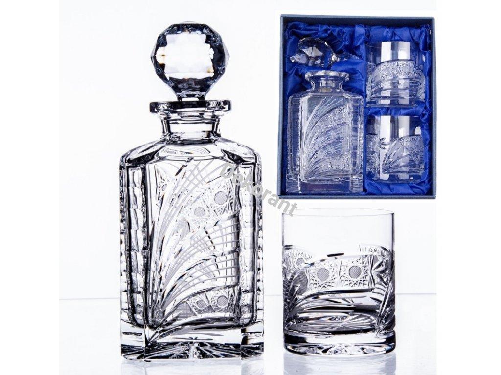ručně broušený whisky set Kometa v dárkovém saténovém balení