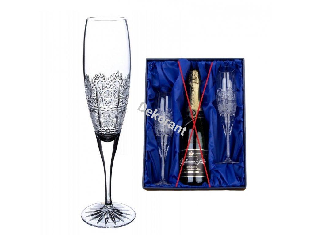 dárková sada na šampaňské se skleničkami 500pk v dárkovém saténovém balení 2ks