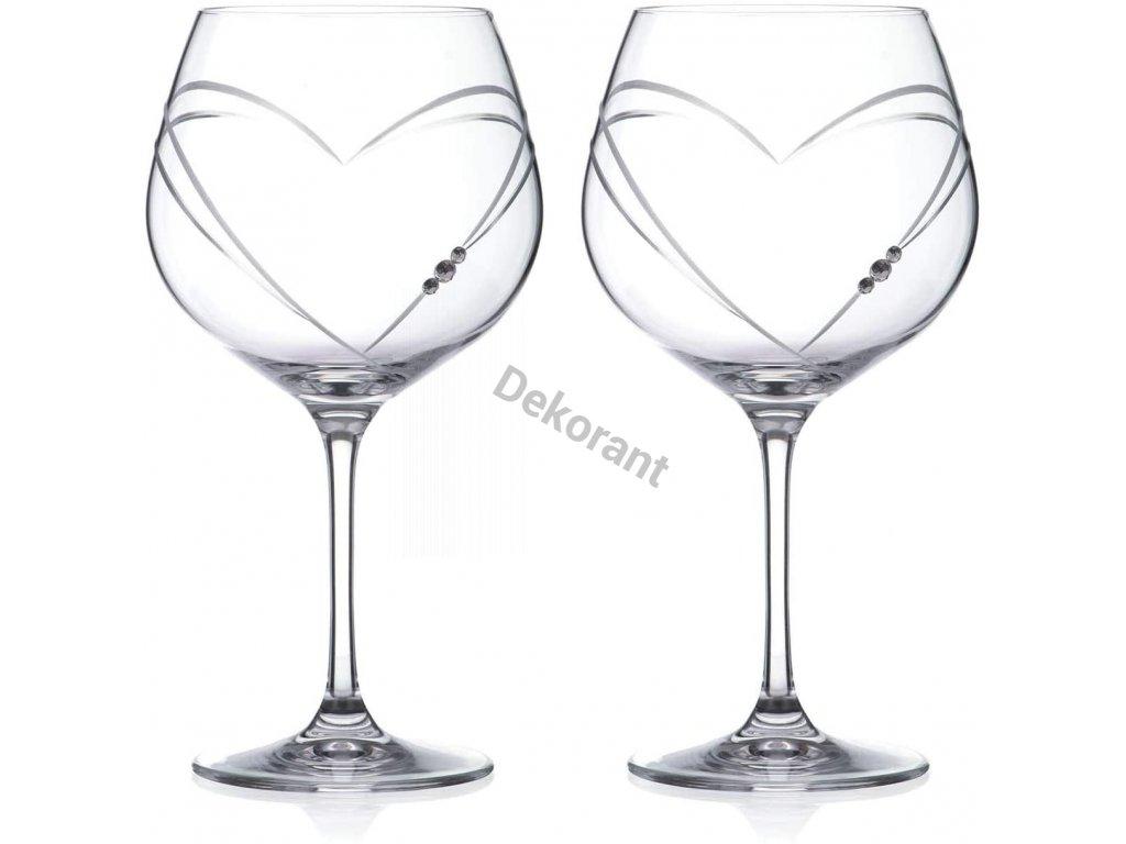 Diamante sklenice na gin Hearts s krystaly Swarovski 640 ml 2KS