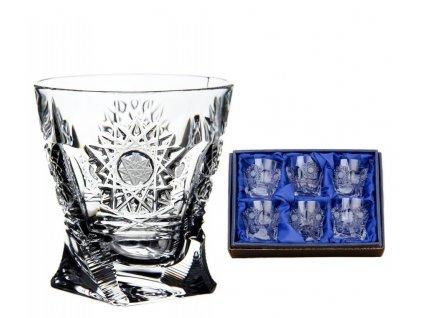 ručně broušený skleničky na likér quadro 500pk v dárkovém saténovém balení