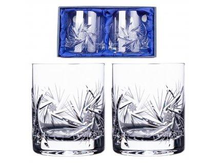 ručně broušené sklenice na whisky Větrník v dárkovém saténovém balení 2ks