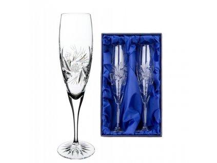 ručně broušené sklenice na šampaňské a set Větrník v dárkovém saténovém balení 2ks
