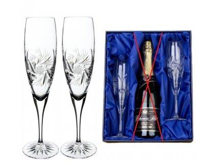 dárkový set na šampaňské v saténovém balení větrník