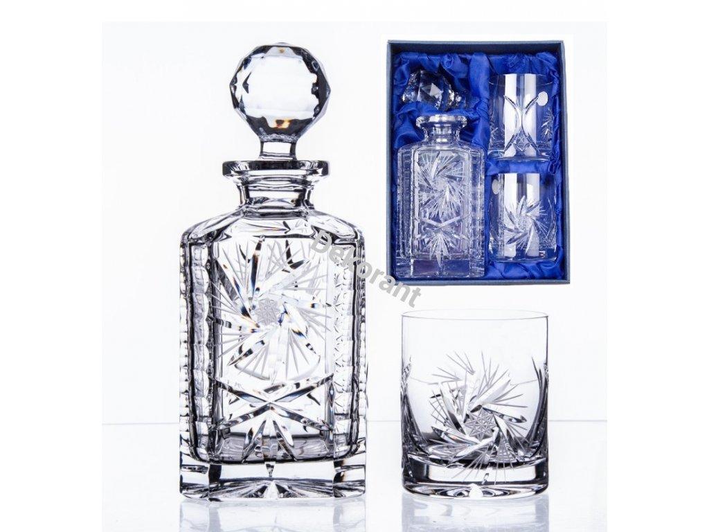 Ručně broušený whisky set Větrník v dárkovém saténovém balení 1+2