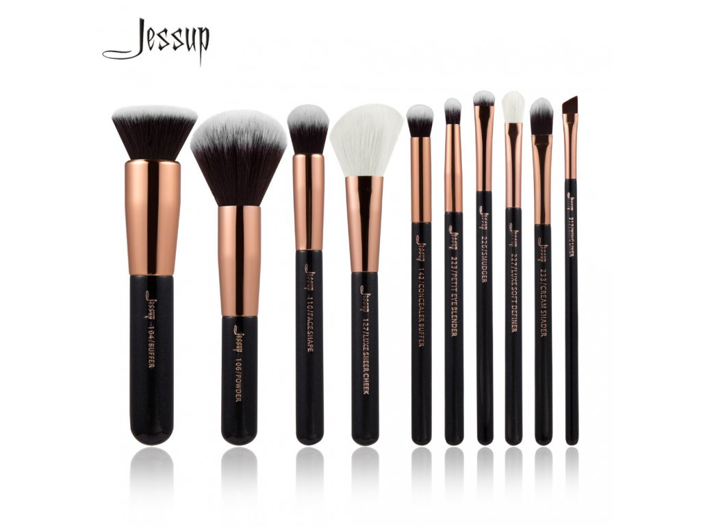 Jessup - Sada 10ti štětců Black & Rose Gold kit T156