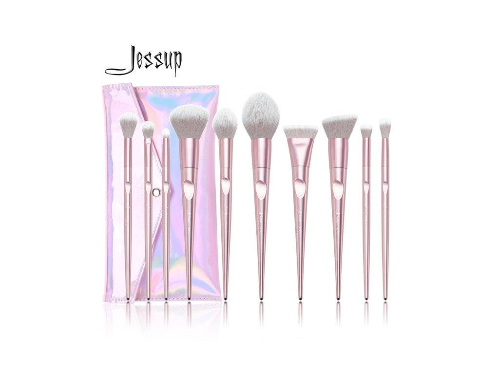 Jessup - Sada 10 štětců Luxurious Pink Brush Set s pouzdrem T260