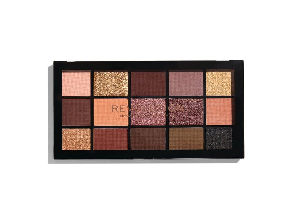 Makeup Revolution - paletka 15 očních stínů Re-Loaded - Velvet rose
