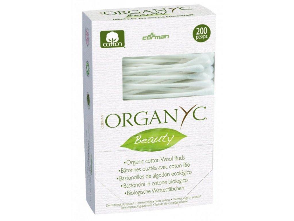 Organyc - Vatové tyčinky do uší (200 ks) z biobavlny a recyklovaného kartonu