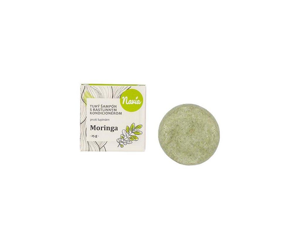 Navia - Tuhý šampon s kondicionérem proti lupům Moringa 25g