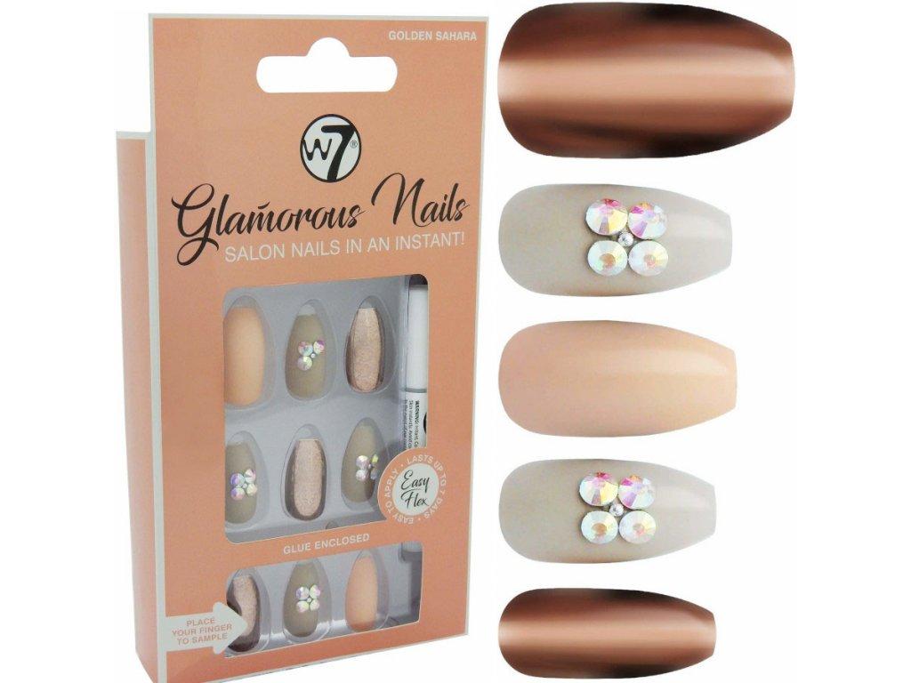 W7 - Nalepovací nehty Glamorous Nails Golden Sahara