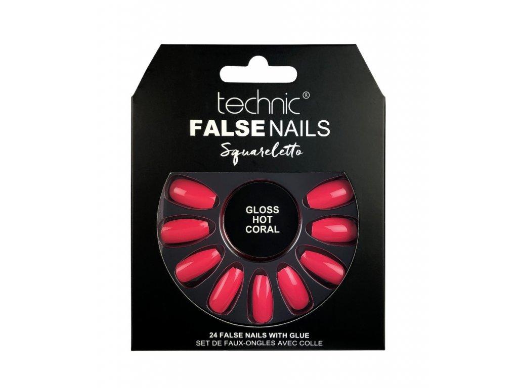 Technic - Sada umělých nehtů s lepidlem Squareletto Gloss Hot Coral