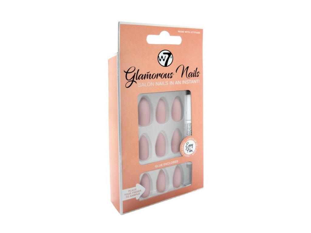 W7 - Nalepovací nehty Glamorous Nails Nude with attitude (24 ks)