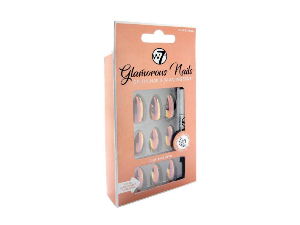 W7 - Nalepovací nehty Glamorous Nails Silver Lining (24 ks)