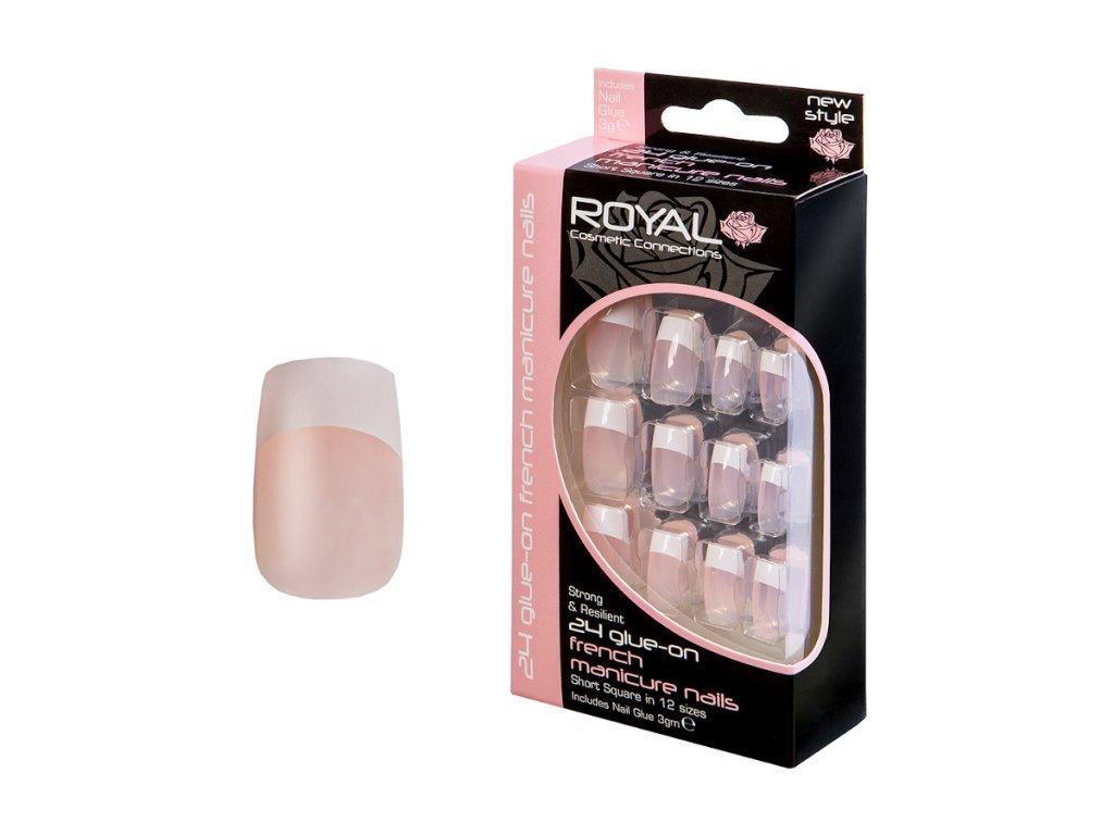 Royal Cosmetics - Sada umělých nehtů s lepidlem French manicure (24 ks)