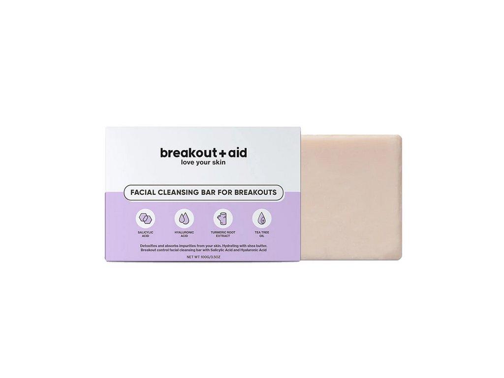 Breakout+aid - Čistící mýdlo na problematickou pokožku s kyselinou salicylovou 100g