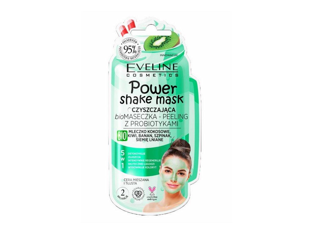 EVELINE - Power Shake Mask Čistící BIO pleťová maska s probiotiky - kiwi 10 ml