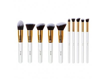 Jessup - Sada 10 štětců Kabuki White & Gold kit T065