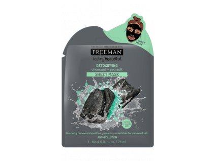 FREEMAN - Látková detoxikační maska aktivní uhlí a mořská sůl 25ml