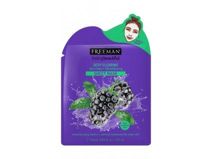 FREEMAN - Látková hluboce čisticí maska teatree a ostružina 25ml