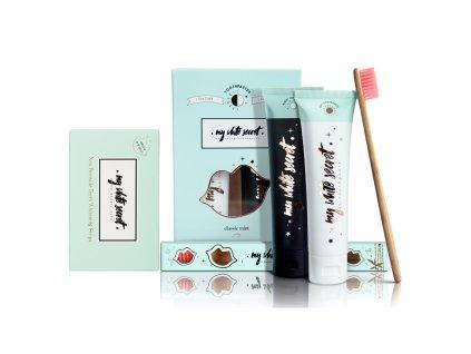 My White Secret - Balíček My White Secret pack (Bělící pásky, denní a noční zubní pasta, kartáček)