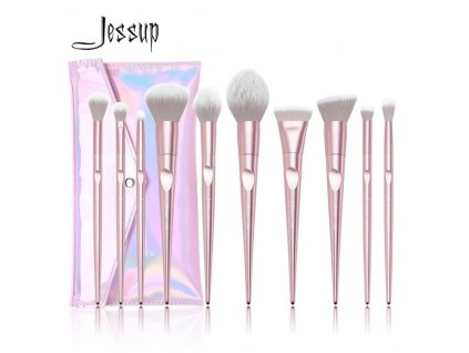 Jessup - Sada 10 štětců Luxurious Pink Brush Set s pouzdrem T260