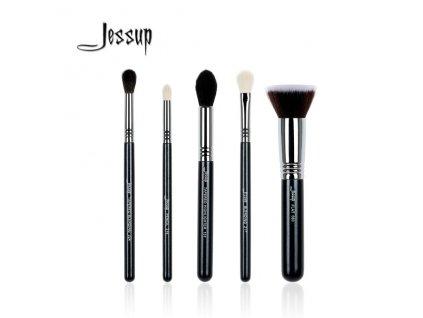 Jessup - Sada 5 štětců na oči a tvář Black & Silver kit T125