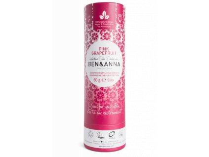 Ben & Anna - Tuhý deodorant BIO (60 g) - Růžový grapefruit papertube pink grapefruit