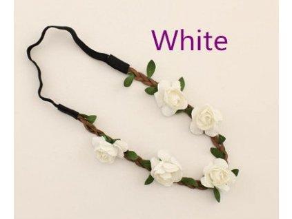 Věneček do vlasů ROSES WHITE