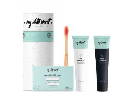 My White Secret - Balíček My White Secret Gift pack I (Bělící pásky, denní a noční zubní pasta, kartáček)