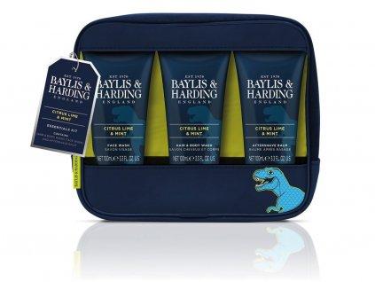 Baylis & Harding - Dárková Pánská Sada péče o tělo v taštičce - Citrus Lime & Mint - 3ks