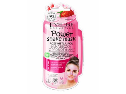EVELINE - Power Shake Mask Rozjasňující BIO pleťová maska s probiotiky - jahoda 10 ml
