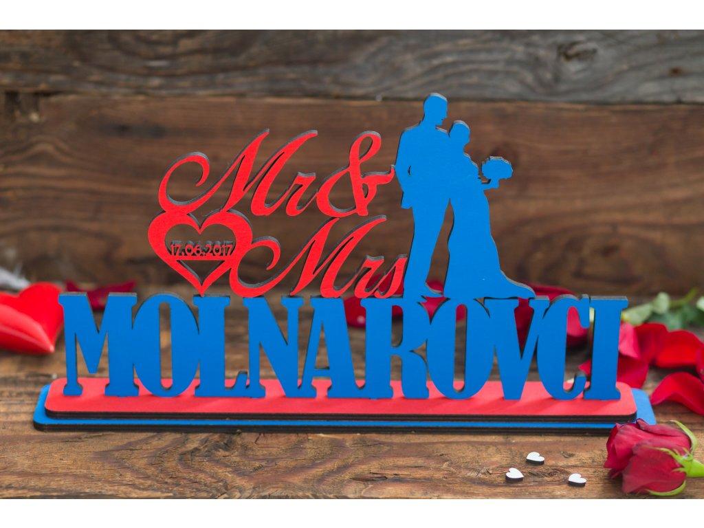 Svadobný nápis (Farba písmen Ružová, Farba vzoru Červená, Farba podstavy Ružová)
