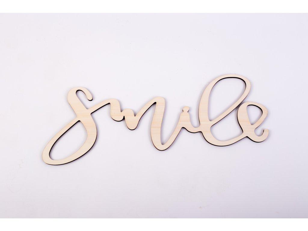 Drevený nápis  #SMILE#